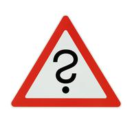 Attention! inquiry - white background Stock Photos