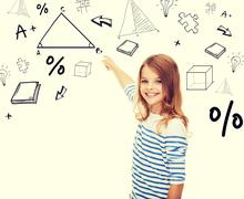 Girl pointing to triangle on virtual screen Stock Illustration