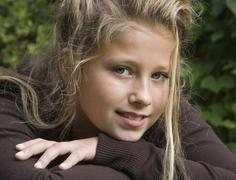 Portrait of a 14 year old girl - stock photo