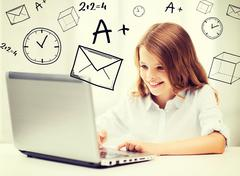 Girl with laptop pc at school Stock Illustration