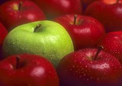 Stock Photo of rote aepfel, darunter ein gruener apfel |