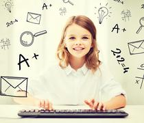 student girl with keyboard - stock illustration