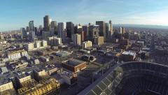 Birds Eye Panorama over looking downtown Denver and Coors Field Stock Footage