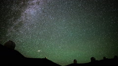 Astrophotography Time Lapse of Startrails over Mauna Kea Observatories -Tilt Up- - stock footage