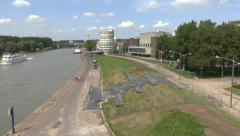 Pan from the Rhine towards Arnhem, Gelderland, Netherlands. Stock Footage