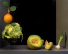 Stillife with fruits and vegetables in the manner of the spanish painter juan Stock Photos