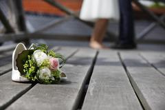 Bridal bouquet lying on the floor Stock Photos