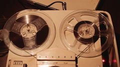 Vintage Tape Recorder Running Tape Stock Footage
