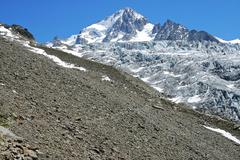 Stock Photo of rubble, lateral moraine glacier du tour, peak aiguille du chardonnet, french