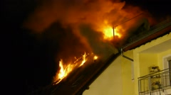 HD1080 House Fire in the night Stock Footage