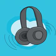 Single headphones pair Stock Illustration