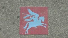 The Pegasus emblem on the John Frost Bridge in Arnhem, Netherlands. Stock Footage