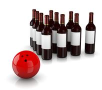 Stock Illustration of set of glass wine bottles as skittles and bowling ball  on white background,