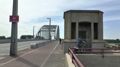 Memorial pillbox on John Frostburg (John Frost Bridge), Arnhem, Netherlands. - stock footage