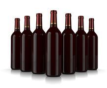 Set of glass wine bottles without label on white background Stock Illustration