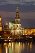 river elbe town hofkirche historical buildings at twilight dresden saxony ger - stock photo