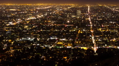 HD Avenues and Streets of LA by night from Griffith Observatory Timelapse Stock Footage