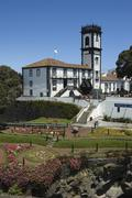 Stock Photo of townhall and park from ribeira grande, san miguel, acores, portugal