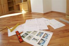 Spatial planning in new build house Stock Photos
