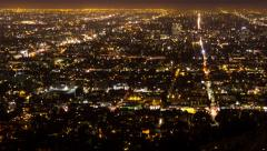 4K Avenues and Streets of Los Angeles by night from Griffith Obs. Timelapse Stock Footage