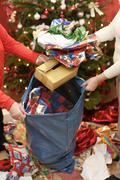 Stock Photo of christmas paper, rubbish, trashbag, clean, christmas