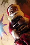 santa claus made of chocolade in front of stars - stock photo