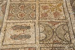 Colourful mosaic various patterns at archaeological site of early christian b Stock Photos