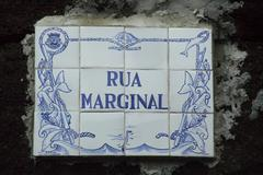 "Stock Photo of mosaic sign ""rua marginal"", san miguel, acores, portugal"