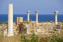 Stock Photo of pillars of early christian basilica kampanopetra at the sea archaeological si