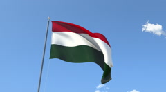 The flag of Hungary Waving on the Wind. Stock Footage