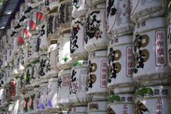 kegs of sage for the new year\'s day celebration, meiji-shrine, tokyo, kanto, - stock photo