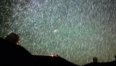 4K Astrophotography Time Lapse of Startrails over MaunaKea Observatory -Zoom Out Stock Footage