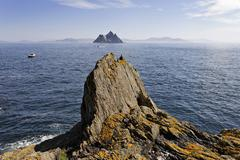 view from the island skellig michael to the neighbour island little skellig,  - stock photo