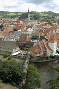 View from the castle over the vltava river to cesky krumlov, south bohemia, c Stock Photos