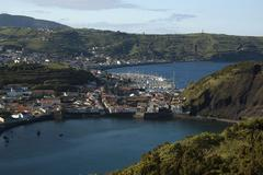 Stock Photo of view on horta from monte da guia, faial, acores, portugal