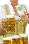 women, decollete, beer, tradition, traditional costume, euro - stock photo