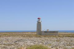 Old lighthouse of the fort fortaleza de sagres a national monument on the pla Stock Photos