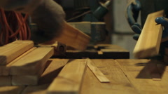 Workers in wood shop Stock Footage