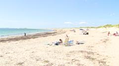 People walking on a rhode island beach in summer. Stock Footage