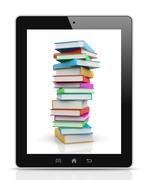 tablet pc showing a pile of colored books illustration - stock illustration