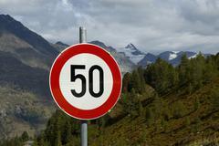traffic sign, limit speed 50 kilometer - stock photo