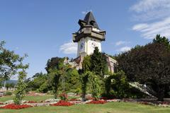 Stock Photo of clock tower on the schlossberg castle hill graz capital of styria austria