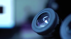Looking into a Microscope Stock Footage