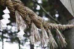 Incense sticks and prayer notes at takkoku-seiko-ji temple, honshu, japan Stock Photos