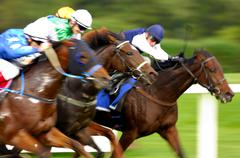jockeys at a gallop race, hosre race, racehorses in motion, detail - stock photo