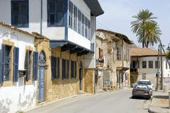 old turkish architecture with bays at the dervish pasha houses in the streets - stock photo