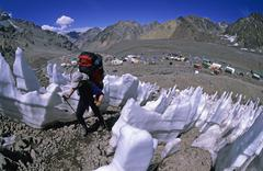 Female climber in a field of penitentes above aconcagua basecamp mendoza arge Stock Photos