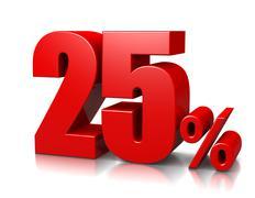 Red twenty-five percent number on white background 3d illustration Stock Illustration