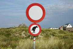 Sign in the dunes, dog feces, noordwijk, south holland, holland, the netherla Stock Photos