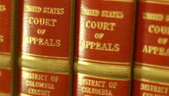 Rack Focus Court of Appeals Volumes in Library Stock Footage